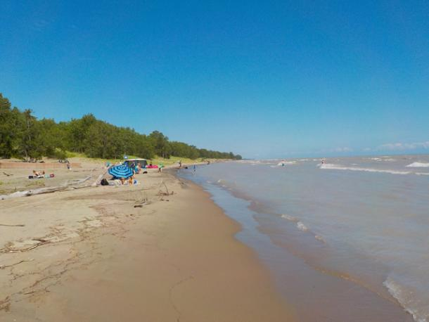 beach during ontario by bike tour