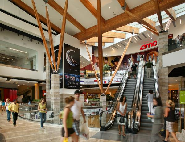 Westfield Southcenter shopping mall, AMC theater and escalators