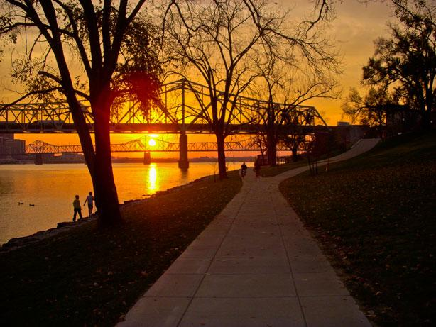 Sunset by the river at The Ohio River Greenway in Southern IN