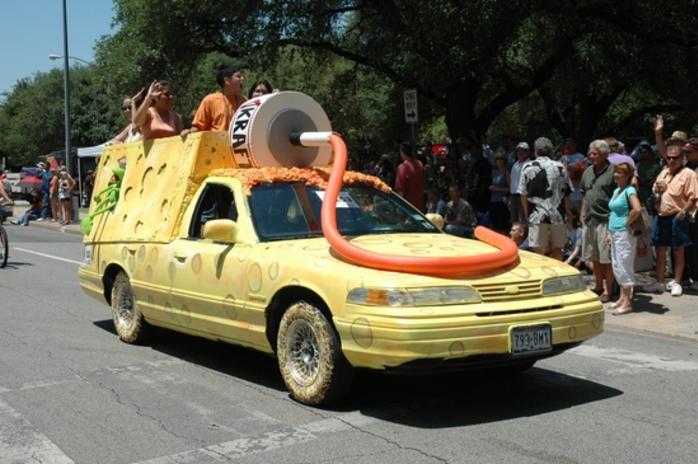 Decorated car at the Houston Art Car Parade
