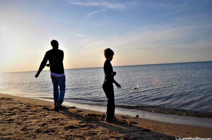 Indiana Dunes West Beach skipping rocks