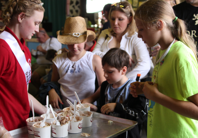 Saratoga Co. Fair ice cream being served on a tray
