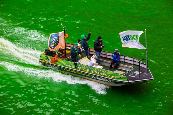 St. Patrick's Day River Dyeing Boat