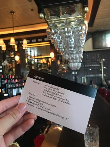 The Avenue Cocktail Card