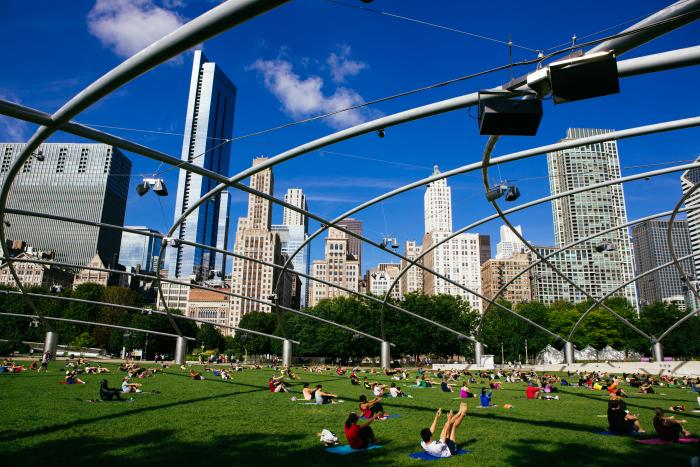 Yoga at Millenium Park
