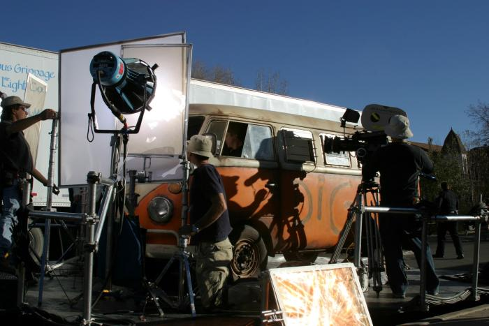 NM crew filming a van