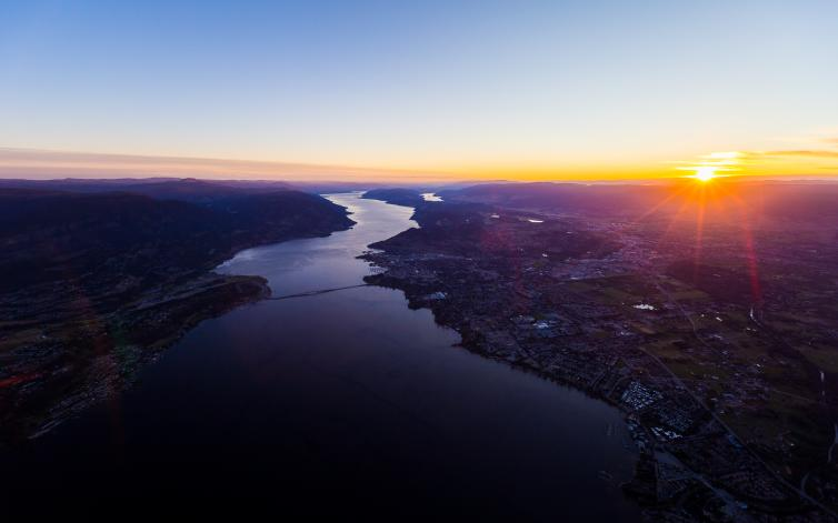 Okanagan Lake & Kelowna Sunrise from Helicopter