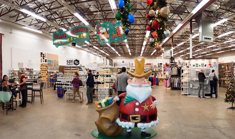 Blue Genie Art Bazaar with Santa figure