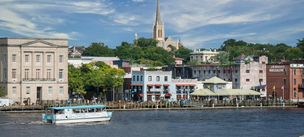 Catamaran on Cape Fear River in downtown Wilmington