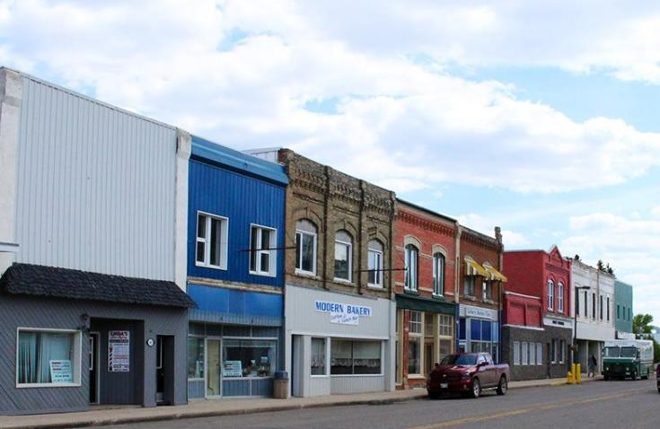 Colourful storefronts of Carberry, Manitoba