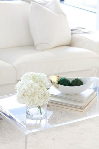 White Couch Table Flower
