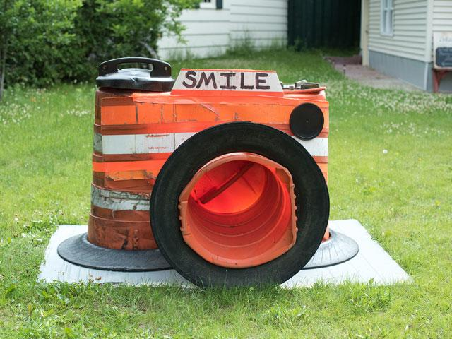 Smile Orange Barrel Art