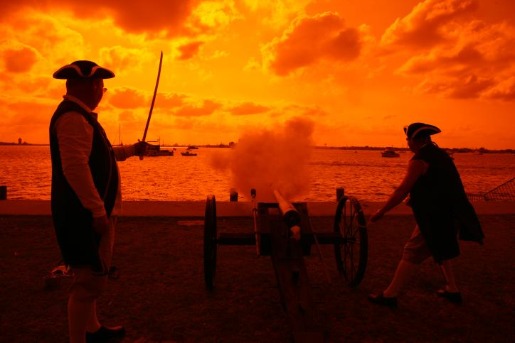 Pirates Shooting Cannon at Sundown