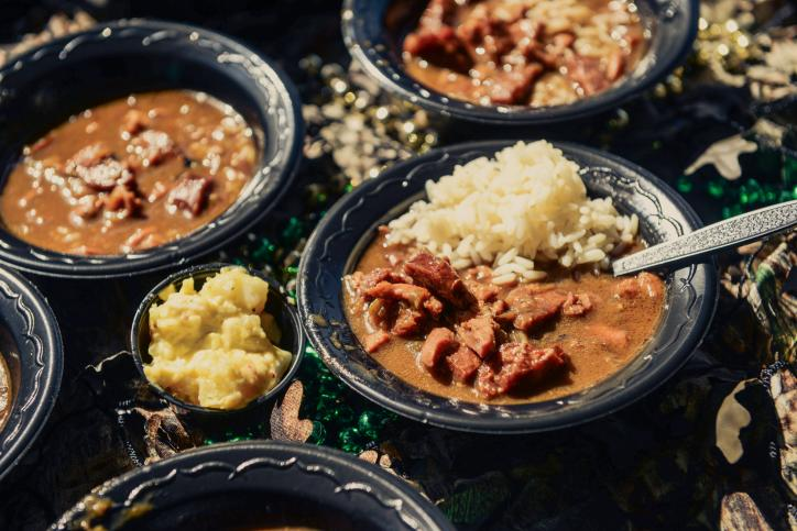 Gumbo Samples at the Mardi Gras Gumbo Cook Off in Lake Charles