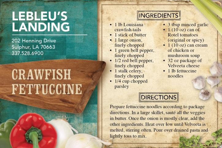 Crawfish Fettuccine Recipe | LeBleu's Landing