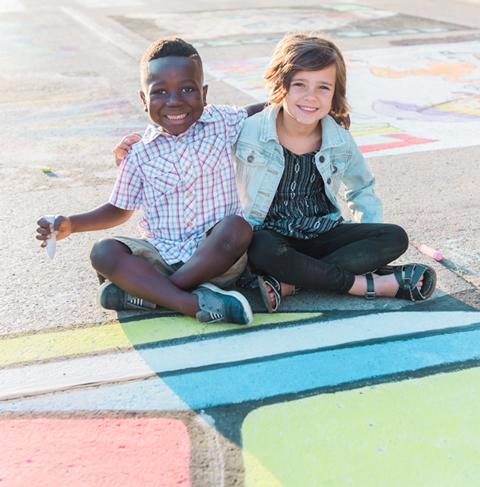 Children at Three Rivers Festival Chalk Walk
