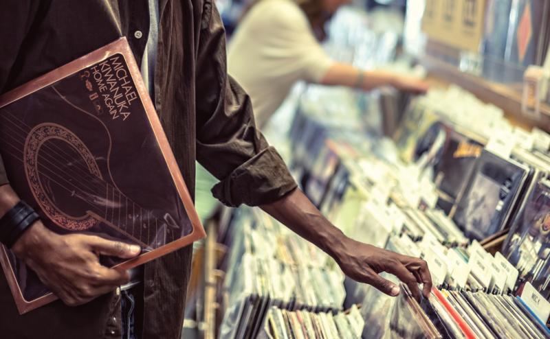 Man shopping at Waterloo Records