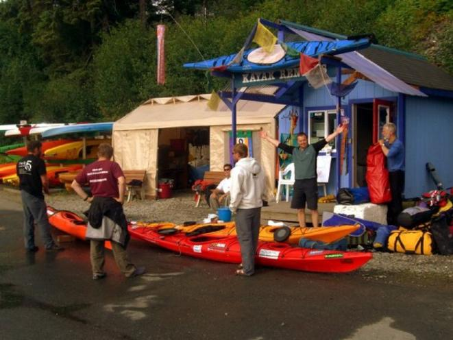 Kayak rental shop in Auke Bay boat harbor