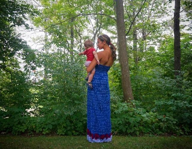 mom and baby in nature