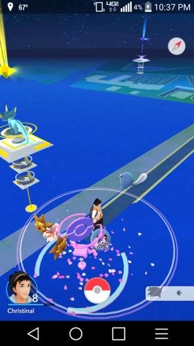 Many Pokemon gather around a trainer, City Pier is a popular area for players of the Pokemon GO game to gather.