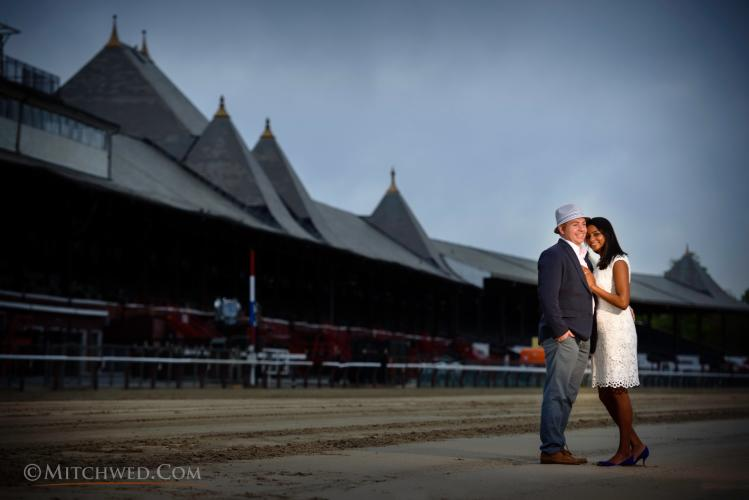 Couple posing at the Saratoga Race Course