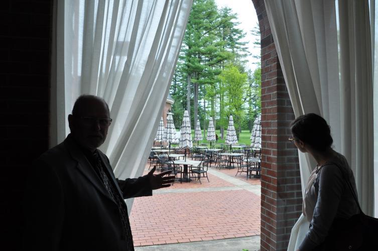 Gideon Putnam View of Patio through Window