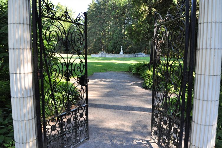 Exiting through gate to leave Yaddo Gardens