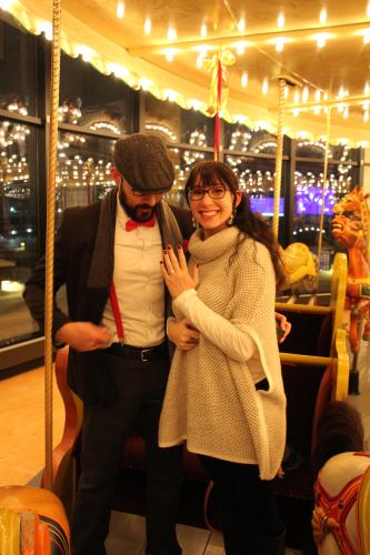 Engagement at Spillman Carousel at Grand Rapids Public Museum