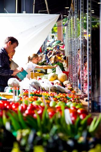 Shoppers at the Fulton Street Farmers Market in Grand Rapids