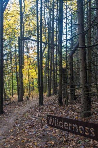 Merrell Trail Wilderness sign in West Michigan