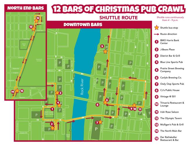 2016 12 bars of christmas shuttle map