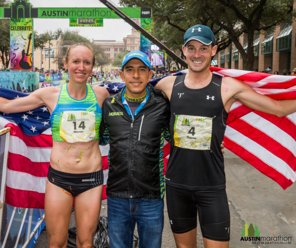 Austin Marathon winners Joe Thorne and Allison Macsas with Austin Marathon Race Ambassador and Olympic silver medalist Leo Manzano