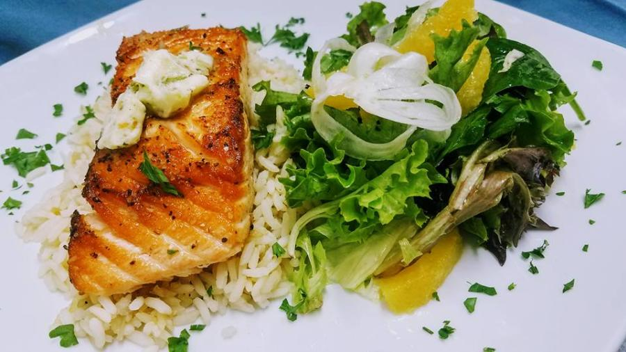 Salmon and Rice at Spin City