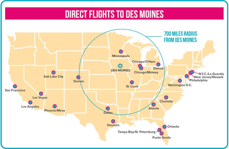 CDM Direct Flights to dsm_Map