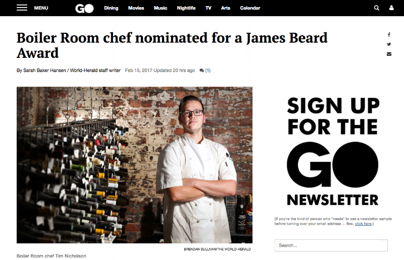 Boiler Room chef nominated...