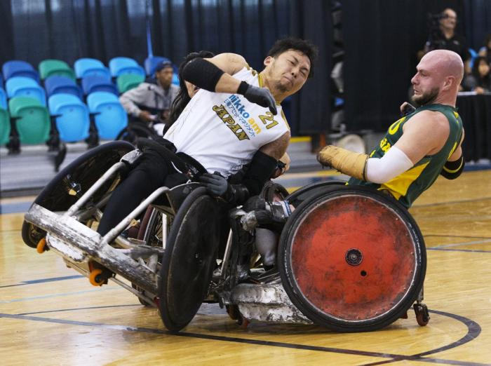 Competitors clash at the Canada Cup International Wheelchair Rugby Tournament. PHOTO CREDIT: Kevin Bogetti-Smith