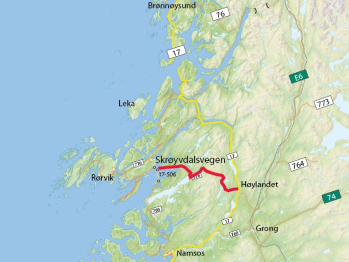 Kart Skrøyvdalsvegen