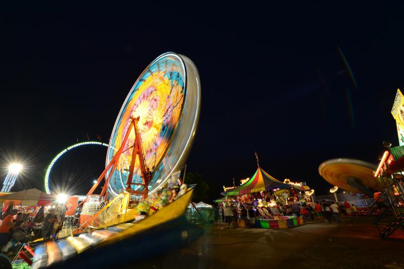 Iowa State Fair rides at night