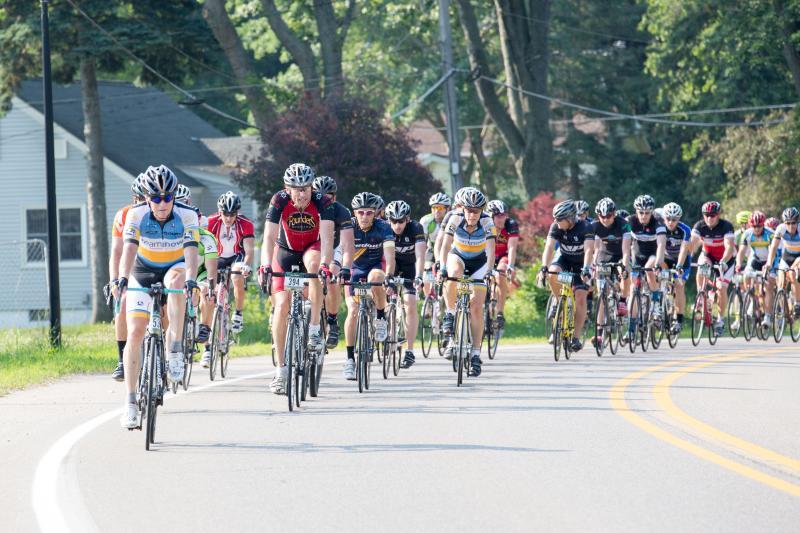 Cyclists in the MSU Grand Fondo in Grand Rapids