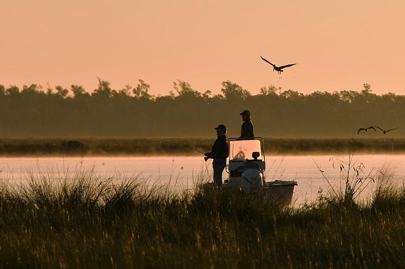 Sunrise fishing at  Big Branch Marsh National Wildlife Refuge