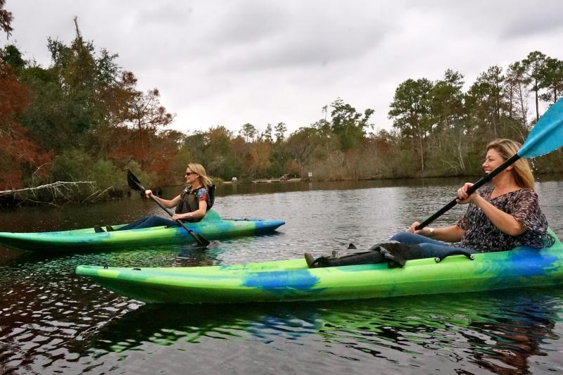 People Kayaking on the  Bayou Lacombe in Louisiana