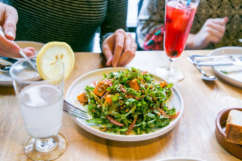 Salad and drinks at Cardinal Spirits