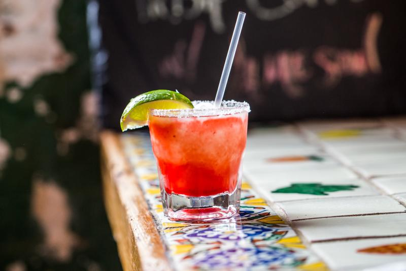 Strawberry Frozen Margarita from Gueros in Austin Texas