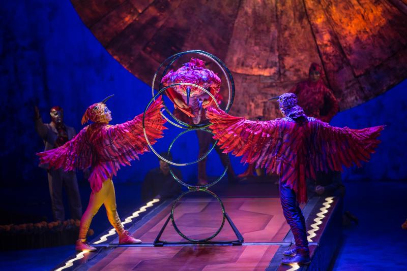 Performers dressed as birds in Cirque du Soleil's Luzia