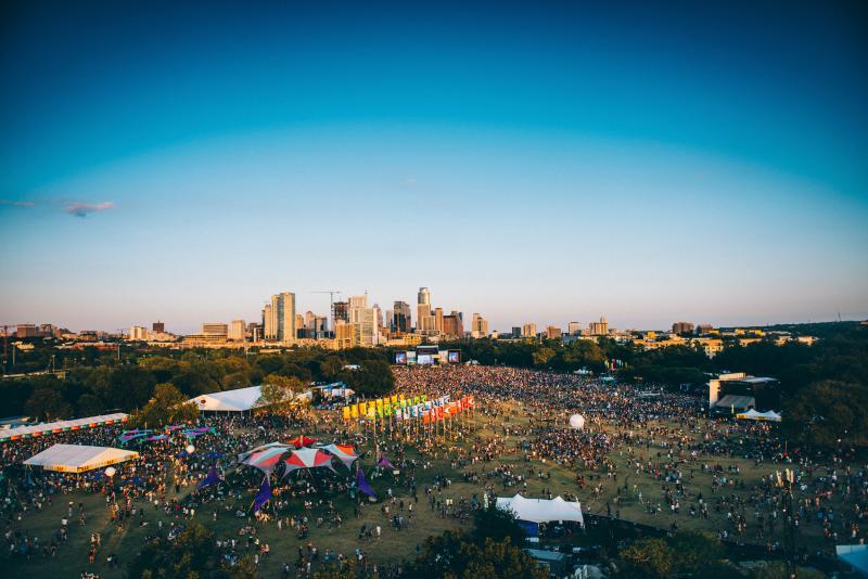 city skyline over zilker park during Austin City Limits Music Festival