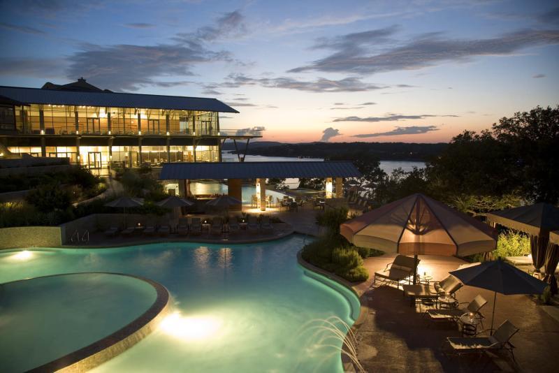 Pool at sunset at Lakeway Resort and Spa near Austin texas