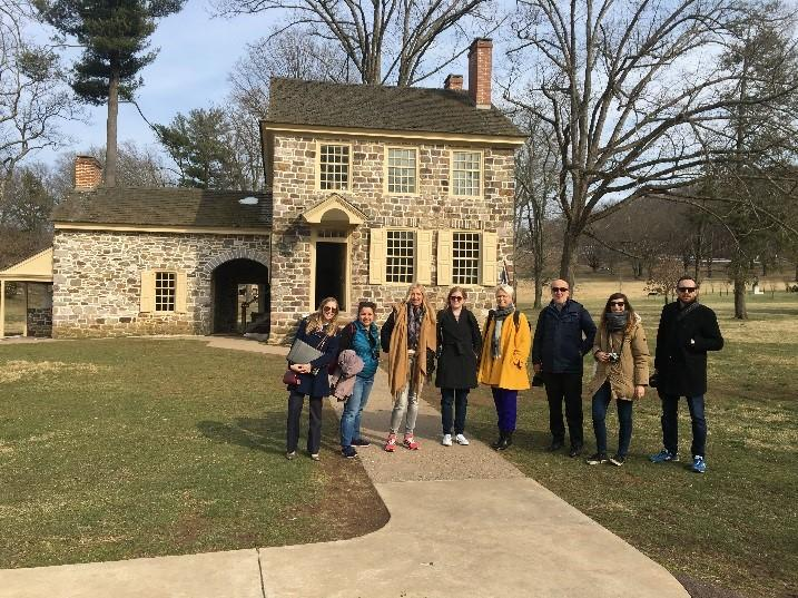 International travel writers from Spain, Italy, Germany, France, Scotland and Denmark tour Valley Forge National Historical Park with staff from the Valley Forge Tourism & Convention Board; they were in the area to preview the new Museum of the American Revolution.