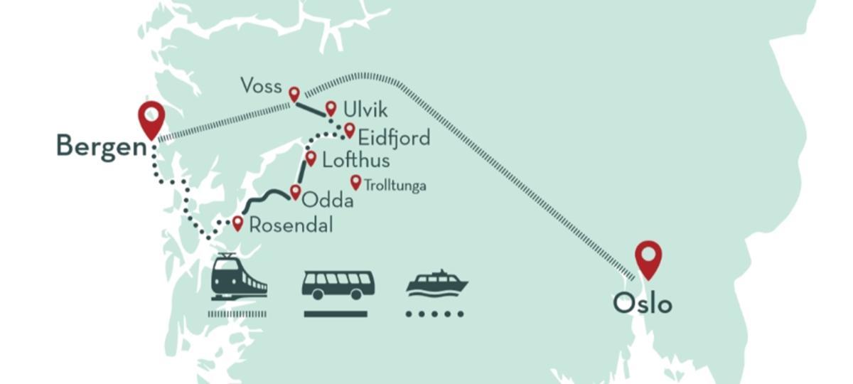 Hardangerfjord in a nutshell Rosendal map