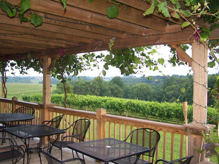 Porch at Atwood Hill winery with beautiful view of rolling green hills