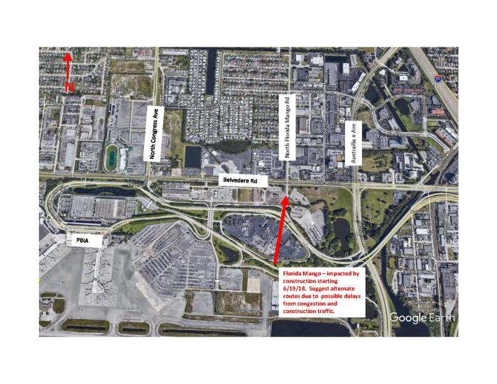 Road construction on Florida Mango with expected delays and congestion